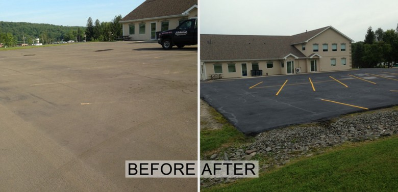 Sealcoating, Striping, and Hot Rubberized crack filling